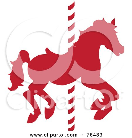 Royalty-Free (RF) Clipart Illustration of a Silhouetted Red Carousel Horse On A Pole by Pams Clipart