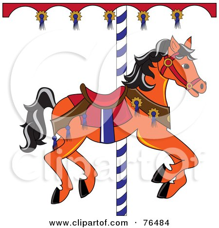 Royalty-Free (RF) Clipart Illustration of an Orange Carousel Horse With Black Hair by Pams Clipart