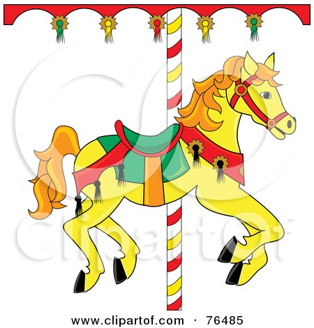 Royalty-Free (RF) Clipart Illustration of a Yellow Carousel Horse With Orange Hair by Pams Clipart