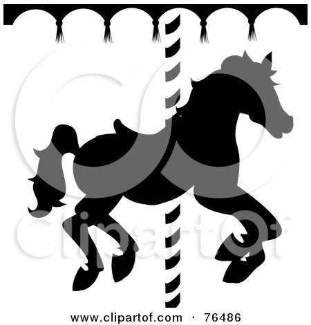 Royalty-Free (RF) Clipart Illustration of a Black And White Silhouetted Carousel Horse by Pams Clipart