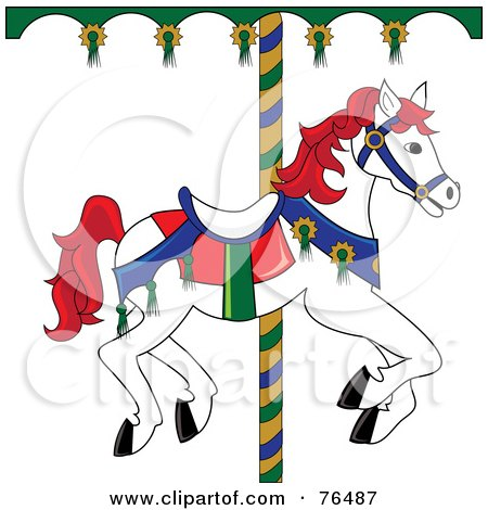 Royalty-Free (RF) Clipart Illustration of a White Carousel Horse With Red Hair by Pams Clipart