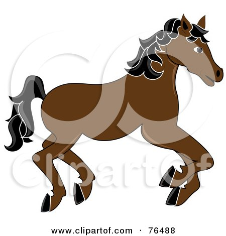 Royalty-Free (RF) Clipart Illustration of a Running Brown Carousel Horse With Black Hair by Pams Clipart
