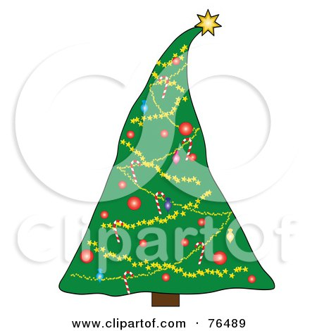 Royalty-Free (RF) Clipart Illustration of a Christmas Tree Decorated With A Heavy Star Topper by Pams Clipart