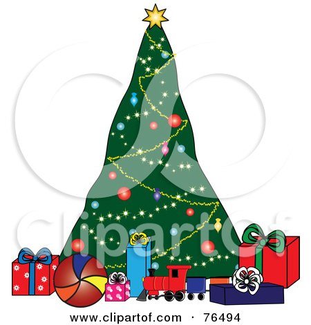 Royalty-Free (RF) Clipart Illustration of a Decorated Christmas Tree Behind Toys And Presents by Pams Clipart