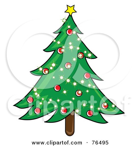 Royalty-Free (RF) Clipart Illustration of a Decorated Christmas Tree With Sparkling Lights And Red Baubles by Pams Clipart