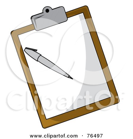 Royalty-Free (RF) Clipart Illustration of a Sheet Of Paper And Pen On A Brown Clipboard by Pams Clipart