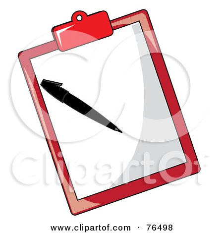 Royalty-Free (RF) Clipart Illustration of a Sheet Of Paper And Pen On A Red Clipboard by Pams Clipart