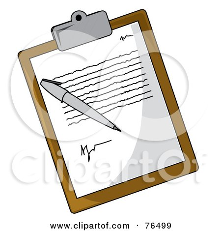 Royalty-Free (RF) Clipart Illustration of a Letter And Pen On A Brown Clipboard by Pams Clipart