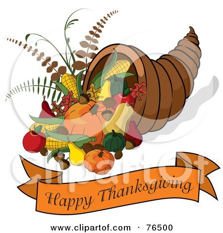 Royalty-Free (RF) Clipart Illustration of a Happy Thanksgiving Greeting Banner Under A Horn Of Plenty Cornucopia by Pams Clipart