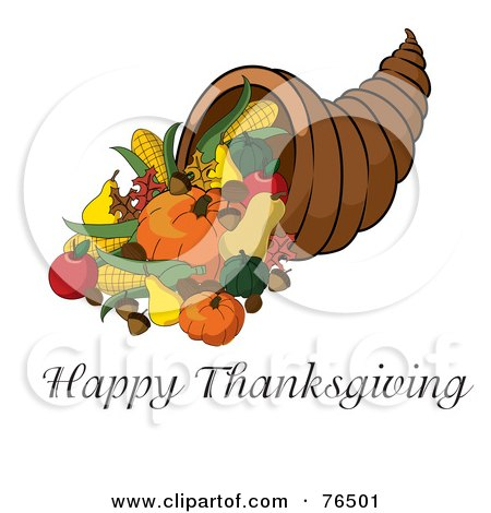 Royalty-Free (RF) Clipart Illustration of a Happy Thanksgiving Greeting Under A Horn Of Plenty Cornucopia by Pams Clipart