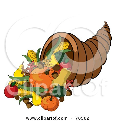 Royalty-Free (RF) Clipart Illustration of a Horn Of Plenty Cornucopia Full Of Autumn Foods by Pams Clipart