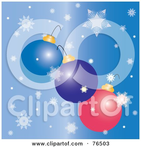 Royalty-Free (RF) Clipart Illustration of Three Christmas Bulbs Falling With Snowflakes Over Blue by Pams Clipart