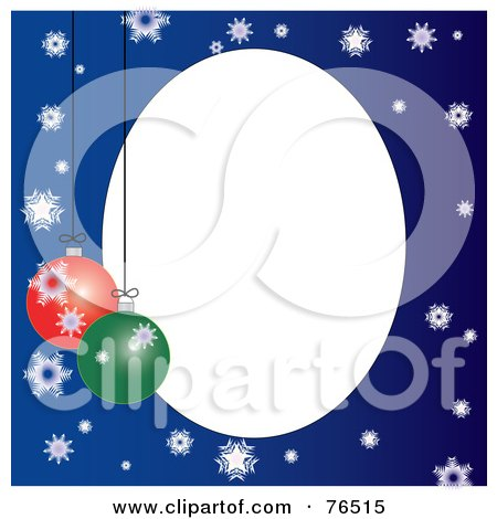 Royalty-Free (RF) Clipart Illustration of a White Oval Bordered With Christmas Bulbs And Snowflakes On Blue by Pams Clipart