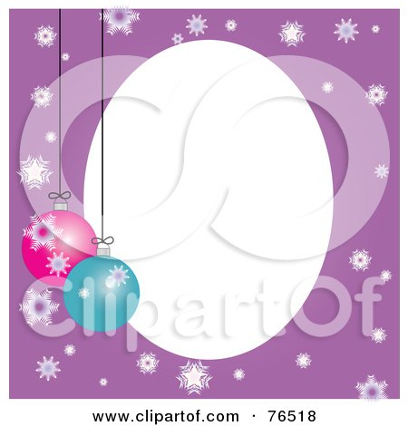 Royalty-Free (RF) Clipart Illustration of a White Oval Bordered With Christmas Bulbs And Snowflakes On Purple by Pams Clipart