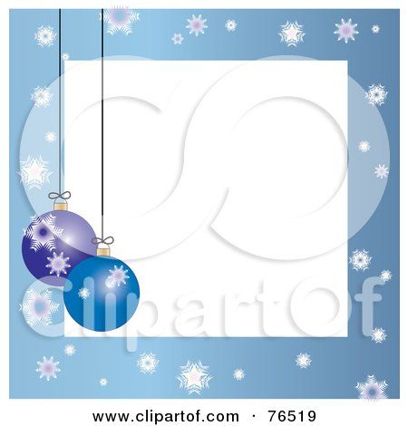 Royalty-Free (RF) Clipart Illustration of a White Square Bordered With Christmas Bulbs And Snowflakes On Blue by Pams Clipart