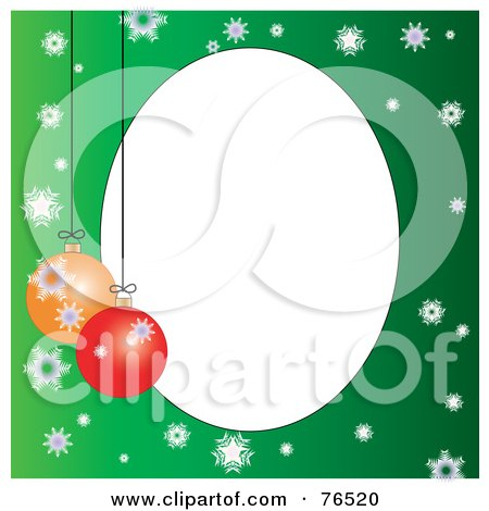 Royalty-Free (RF) Clipart Illustration of a White Oval Bordered With Christmas Bulbs And Snowflakes On Green by Pams Clipart