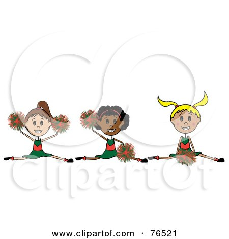 Royalty-Free (RF) Clipart Illustration of a Stick Girl Cheerleading Squad Jumping by Pams Clipart