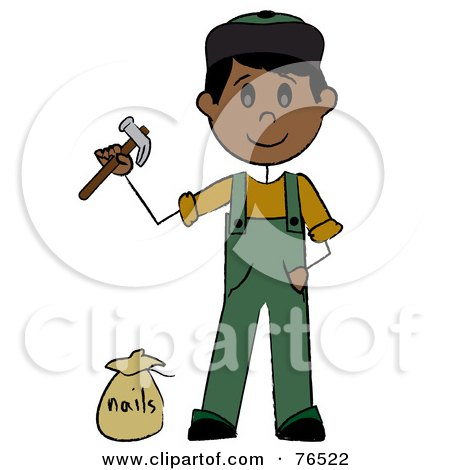 Royalty-Free (RF) Clipart Illustration of a Hispanic Handy Man Holding A Hammer And Standing By Nails by Pams Clipart
