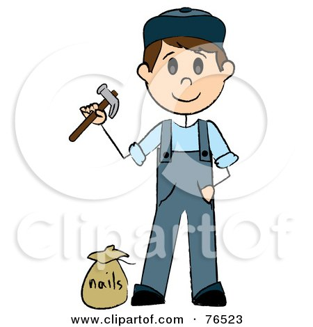 Royalty-Free (RF) Clipart Illustration of a Caucasian Handy Man Holding A Hammer And Standing By Nails by Pams Clipart