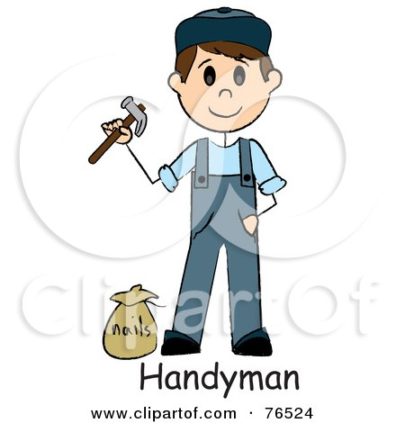 Royalty-Free (RF) Clipart Illustration of a Word Below A Caucasian Handyman Holding A Hammer And Standing By Nails by Pams Clipart