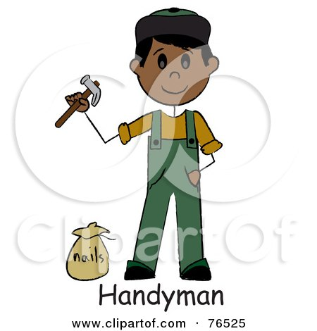 Royalty-Free (RF) Clipart Illustration of a Word Below A Hispanic Handyman Holding A Hammer And Standing By Nails by Pams Clipart
