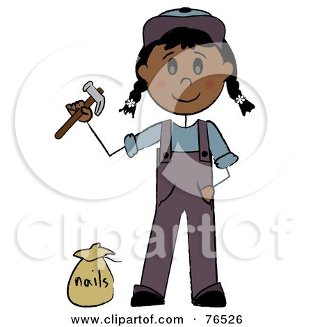 Royalty-Free (RF) Clipart Illustration of a Hispanic Handy Girl Holding A Hammer And Standing By Nails by Pams Clipart