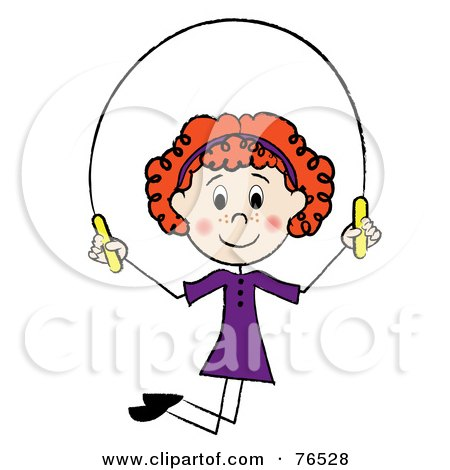 Royalty-Free (RF) Clip Art Illustration of a Happy Redhead Caucasian Girl Jumping Rope by Pams Clipart