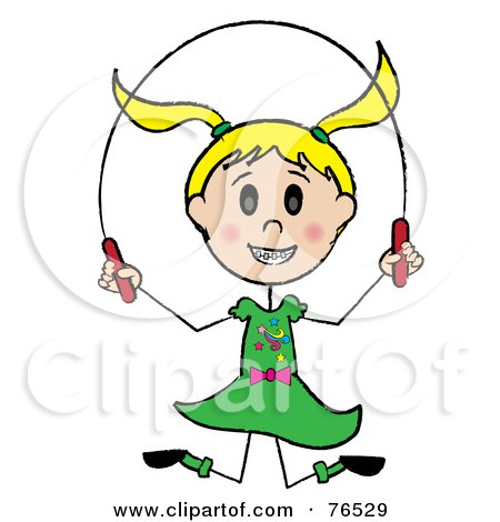 Royalty-Free (RF) Clipart Illustration of a Happy Blond Caucasian Girl Jumping Rope by Pams Clipart