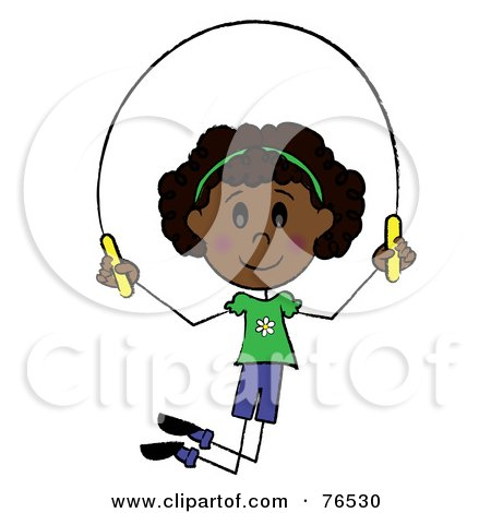 Royalty-Free (RF) Clipart Illustration of a Happy African American Girl Jumping Rope by Pams Clipart