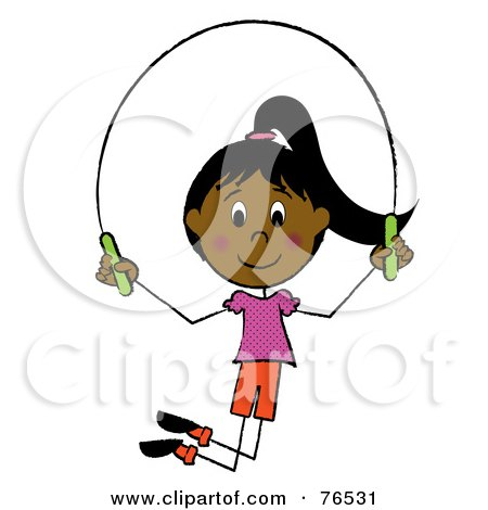 Royalty-Free (RF) Clipart Illustration of a Happy Hispanic Girl Jumping Rope by Pams Clipart