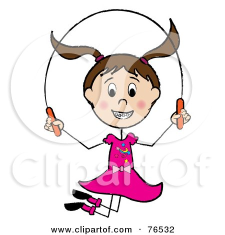 Royalty-Free (RF) Clipart Illustration of a Happy Brunette Caucasian Girl Jumping Rope by Pams Clipart