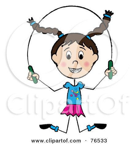 Royalty-Free (RF) Clipart Illustration of a Happy Brunette Caucasian Little Girl Jumping Rope by Pams Clipart