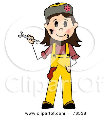 Royalty-Free (RF) Clipart Illustration of a Friendly Caucasian Girl Mechanic Holding A Wrench by Pams Clipart