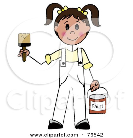 Royalty-Free (RF) Clipart Illustration of a Friendly Caucasian Brunette Painter Stick Girl With A Roller Brush by Pams Clipart