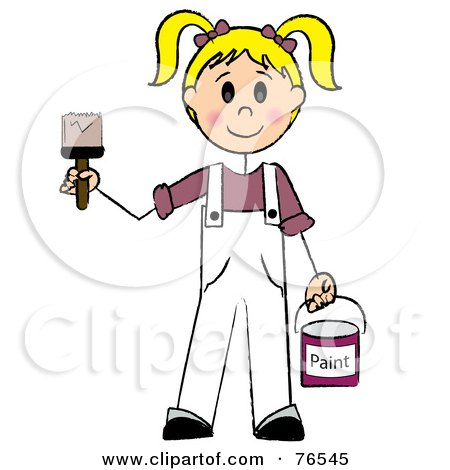 Royalty-Free (RF) Clipart Illustration of a Friendly Caucasian Blond Painter Stick Girl With A Roller Brush by Pams Clipart