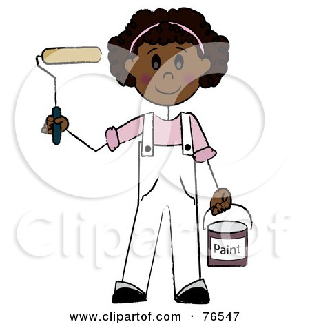Royalty-Free (RF) Clipart Illustration of a Friendly Hispanic Painter Stick Girl With A Roller Brush by Pams Clipart