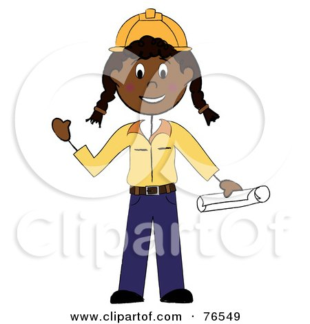 Royalty-Free (RF) Clipart Illustration of a Friendly Black Stick Woman Construction Worker by Pams Clipart
