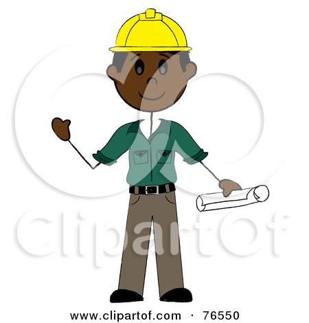 Royalty-Free (RF) Clipart Illustration of a Friendly Black Stick Man Construction Worker by Pams Clipart