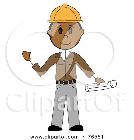 Royalty-Free (RF) Clipart Illustration of a Friendly Hispanic Stick Man Construction Worker by Pams Clipart