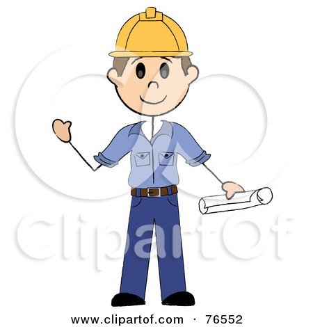 Royalty-Free (RF) Clipart Illustration of a Friendly Brunette Caucasian Stick Man Construction Worker by Pams Clipart
