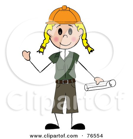 Royalty-Free (RF) Clipart Illustration of a Friendly Blond Caucasian Stick Woman Construction Worker by Pams Clipart