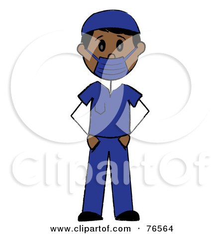 Hispanic Stick Man Surgeon In Blue Scrubs Posters, Art Prints