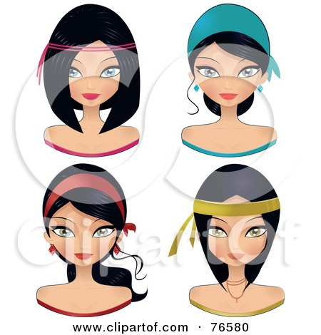 Royalty-Free (RF) Clipart Illustration of a Digital Collage Of Black Haired Women Wearing Head Bands by Melisende Vector