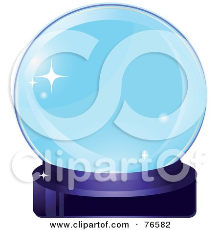 Royalty-Free (RF) Clipart Illustration of a Sparkling Blue Crystal Ball On A Purple Base by Melisende Vector
