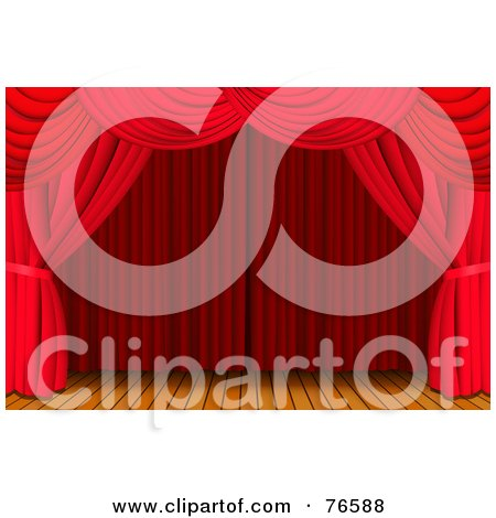 Royalty-Free (RF) Clipart Illustration of a Luxurious Red Curtains Framing A Deserted Wood Stage by Oligo