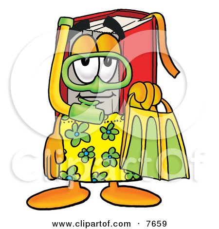 Clipart Picture of a Red Book Mascot Cartoon Character in Green and Yellow Snorkel Gear by Toons4Biz