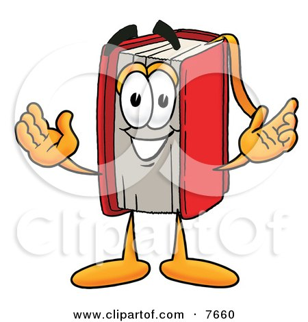 Clipart Picture of a Red Book Mascot Cartoon Character With Welcoming Open Arms by Toons4Biz