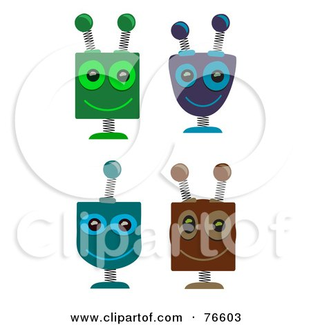 Royalty-Free (RF) Clipart Illustration of a Digital Collage Of Four Springy Robot Heads by mheld