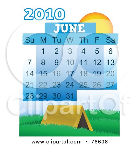 Royalty-Free (RF) Clipart Illustration of a 2010 June Calendar With A Tent by mheld