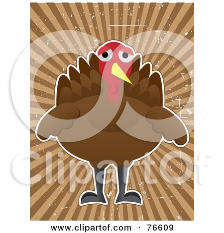Royalty-Free (RF) Clipart Illustration of a Depressed Turkey Bird Over A Grungy Brown Ray Background by mheld